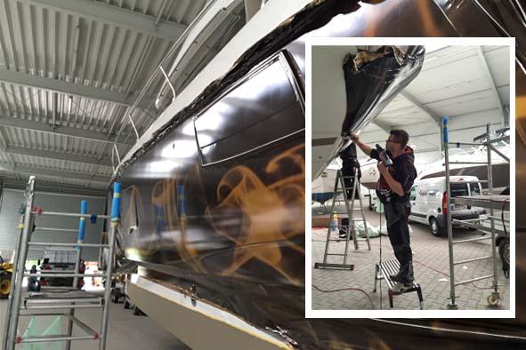 Bild: Verklebeverfahren Boot / Yacht Folierung
